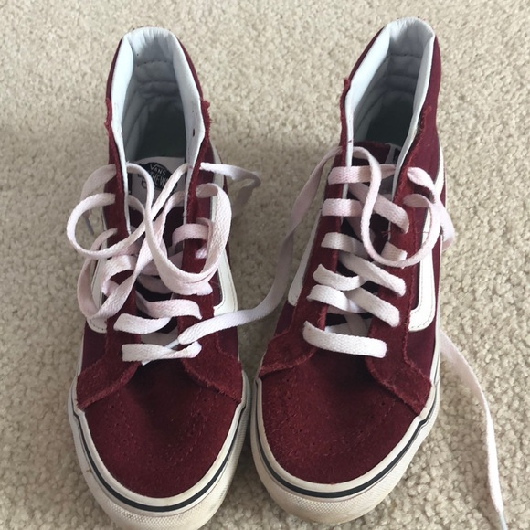 Vans Shoes | Vans High Top Maroon Shoes